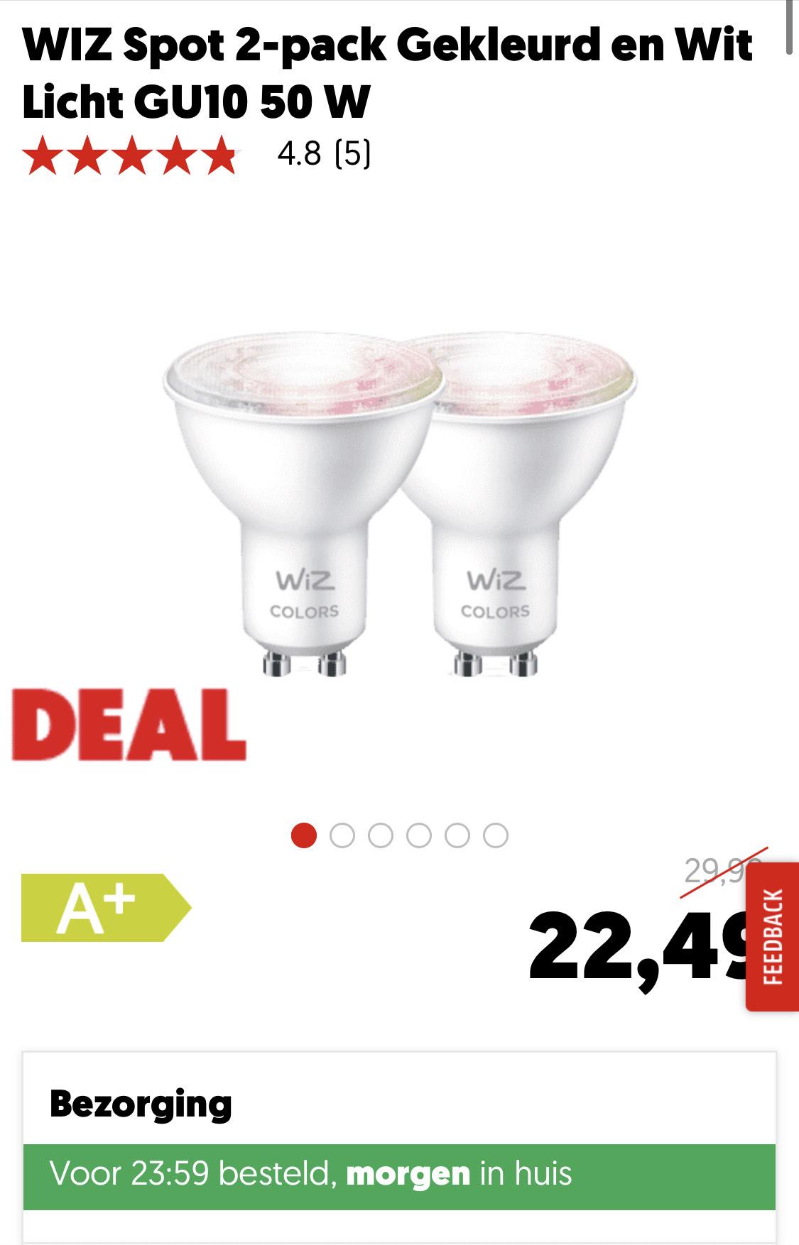 WiZ smart lampen met 25% korting bij Mediamarkt NL