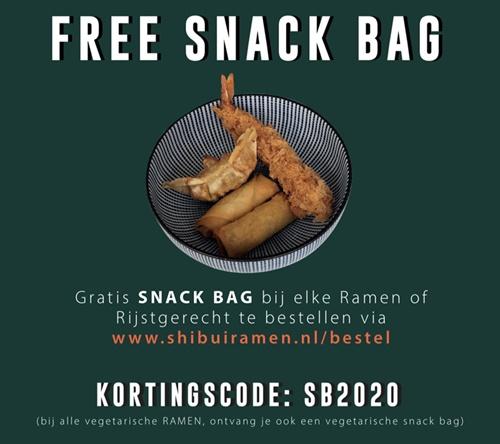 Gratis snackbag bij elke ramen of rijstgerecht bij Shibuiramen.nl (Nijmegen)