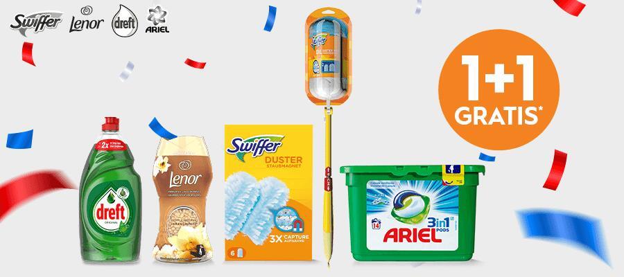 1+1 gratis op alle Swiffer en geselecteerd aanbod Lenor, Ariel en Dreft