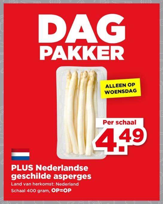 DagPakker PLUS: 400 gram Geschilde Nederlandse Asperges van €8 voor €4,50