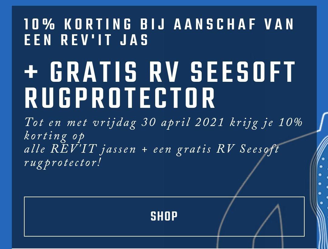 10% korting op rev it Motorjassen + gratis seesoft rug Protector