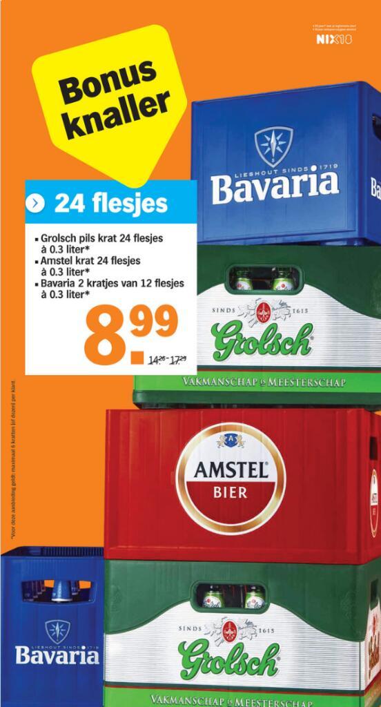 Grolsch, Amstel en Bavaria voor 8,99 @ AH