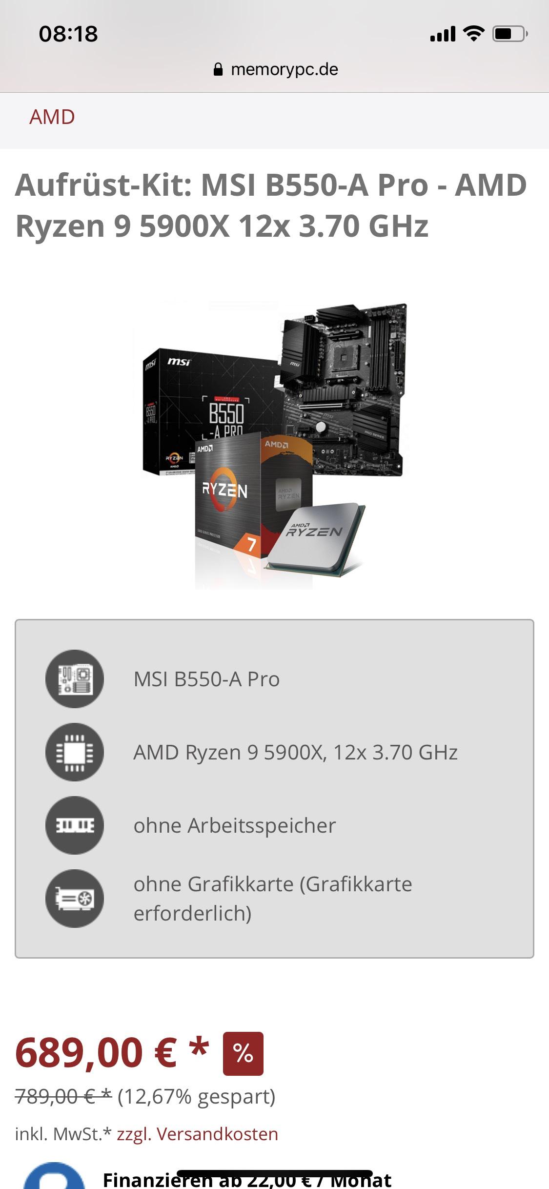 AMD Ryzen 5900X en MSI B550-A PRO @ MemoryPC.de
