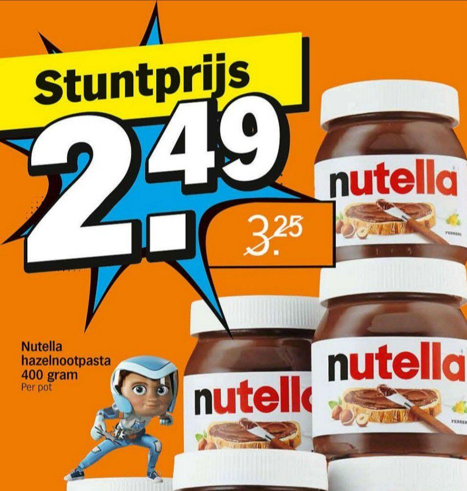 Bij AH deze week, Nutella, pot 400 gr. van €3,25 voor €2,49