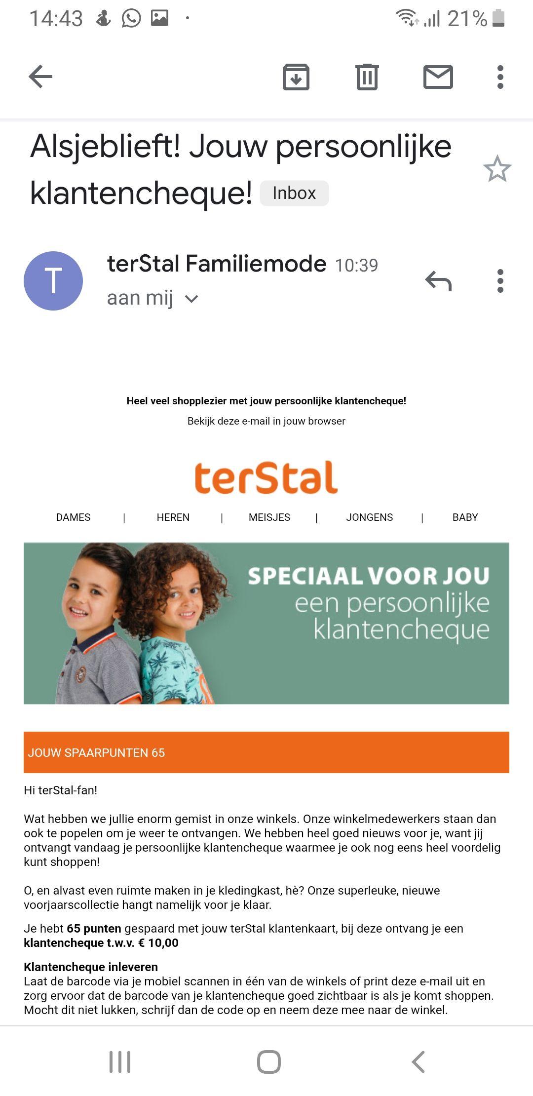 Cadeaubon van 10 euro voor VIP klanten terstal