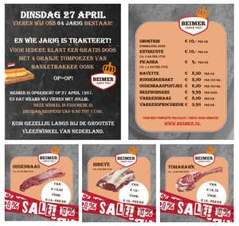 Veel soorten vlees in de aanbieding t/m de 27e! + 4 gratis oranje tompoezen