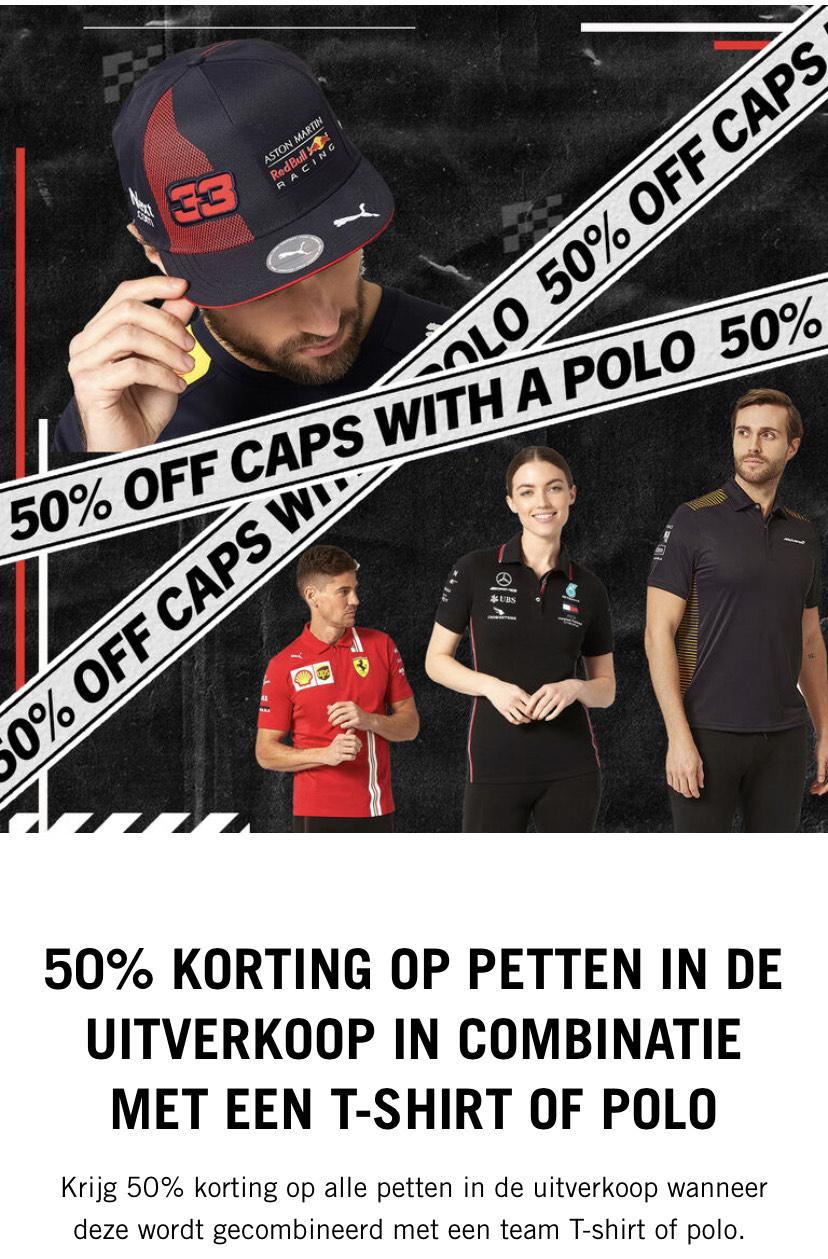 50% korting op een F1 cap bij aanschaf van een shirt