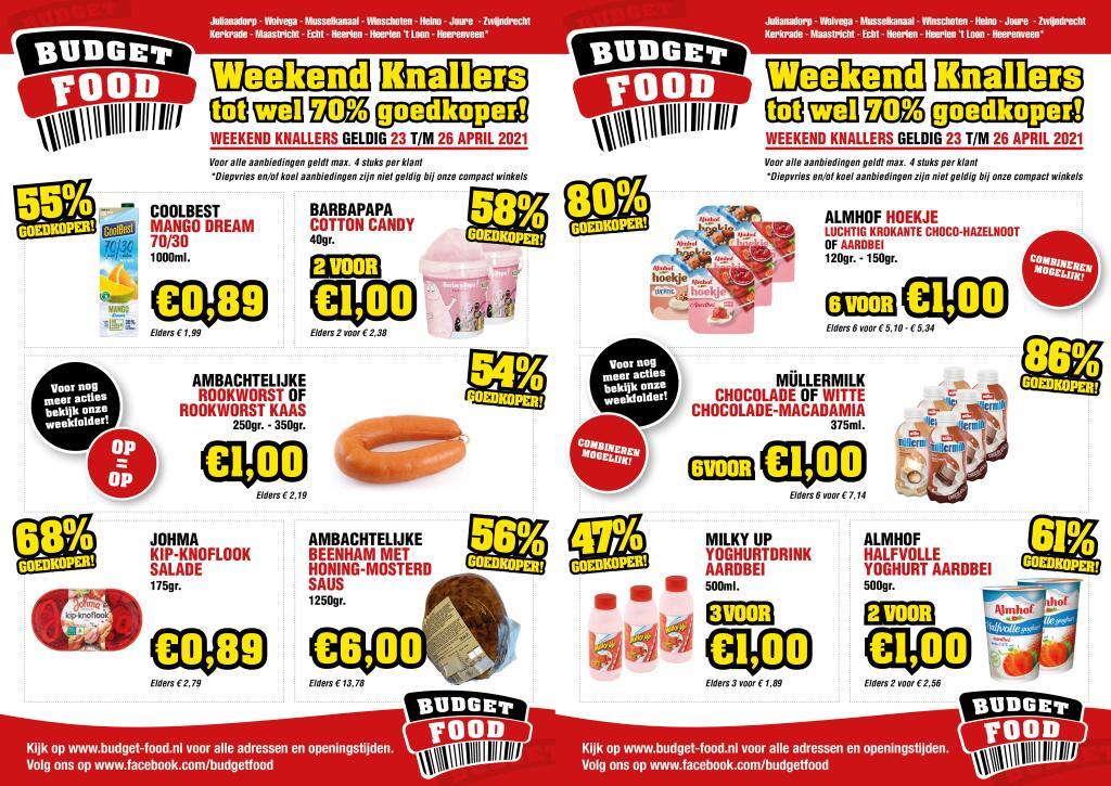 6 flessen Müllermilk Chocolade / Macadamia voor €1 en andere Aanbiedingen (tot 86% korting) @ Budget-Food (Week 17)