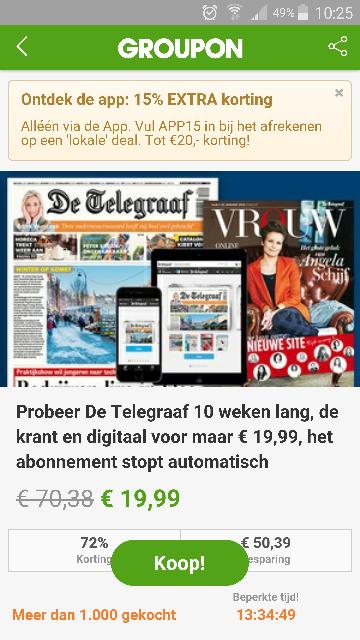 10 weken Telegraaf voor €16,99 @ Groupon