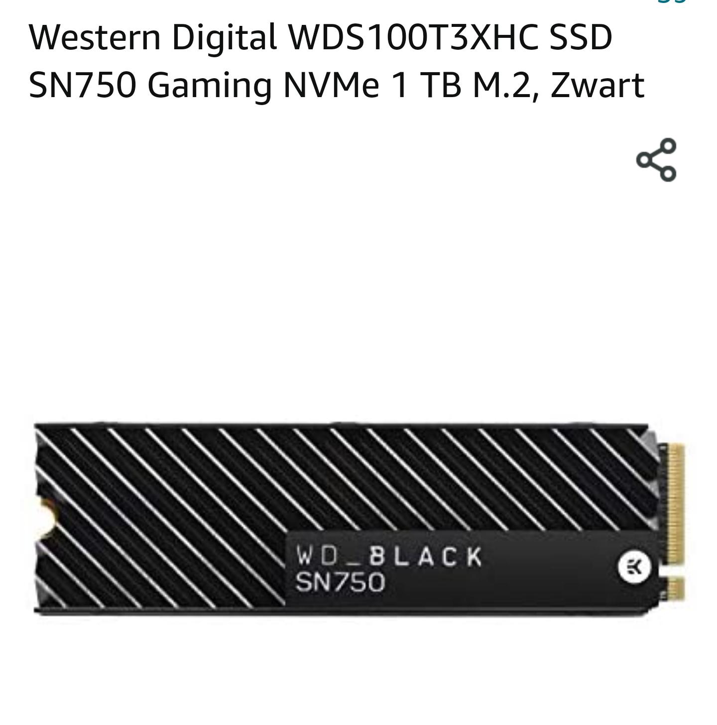 WD Black NVMe SSD SN750 1TB (met heatsink)