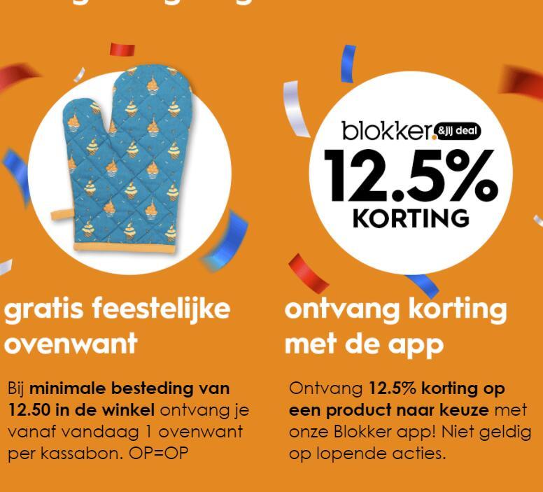 12.5% korting op een artikel naar keuze in de app + gratis feestelijke ovenwant bij min. €12,50 in de winkel