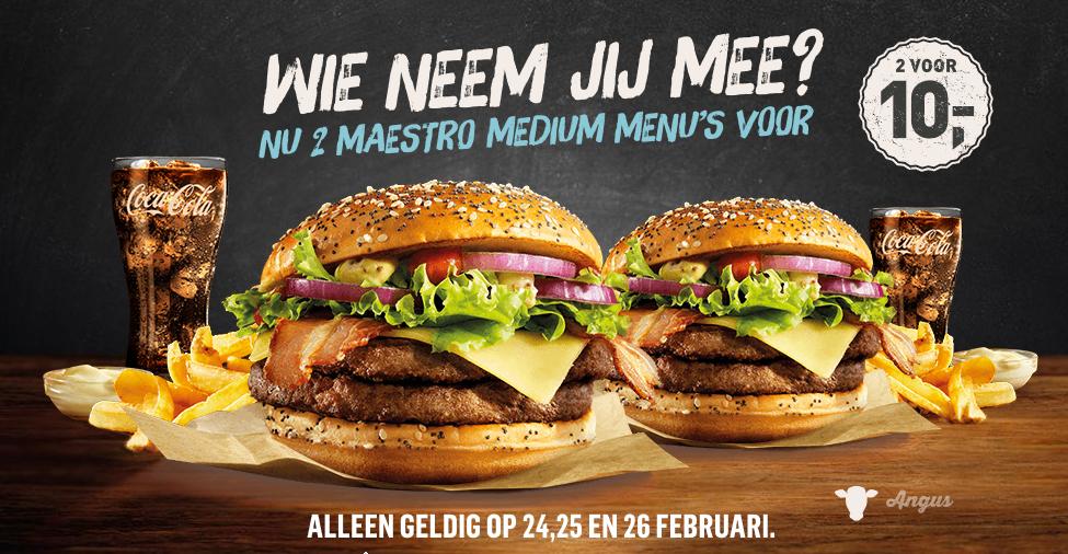 Twee Maestro medium menu's voor €10 @ McDonald's (24, 25 en 26 februari)