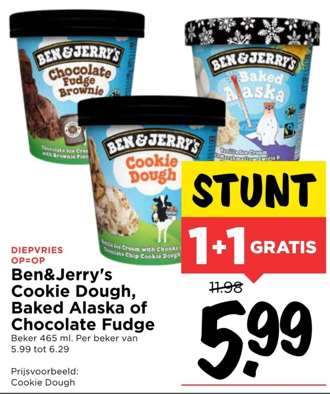 Ben & Jerry's (3 smaken) 2e gratis @ Vomar