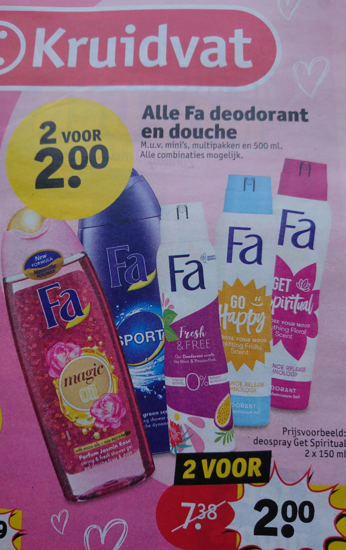 Alle Fa deodorant en douche 2 voor €2