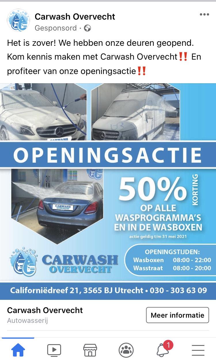 Lokaal Utrecht. Openingsactie 50% korting op alle programma's nieuwe wasstraat.