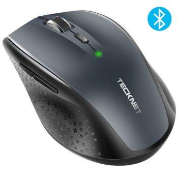 TECKNET Bluetooth muis, compacte draadloos, 5 verstelbare dpi-niveaus, tot 2600 dpi, batterijduur 24 maanden, 8 miljoen kliks levensduur