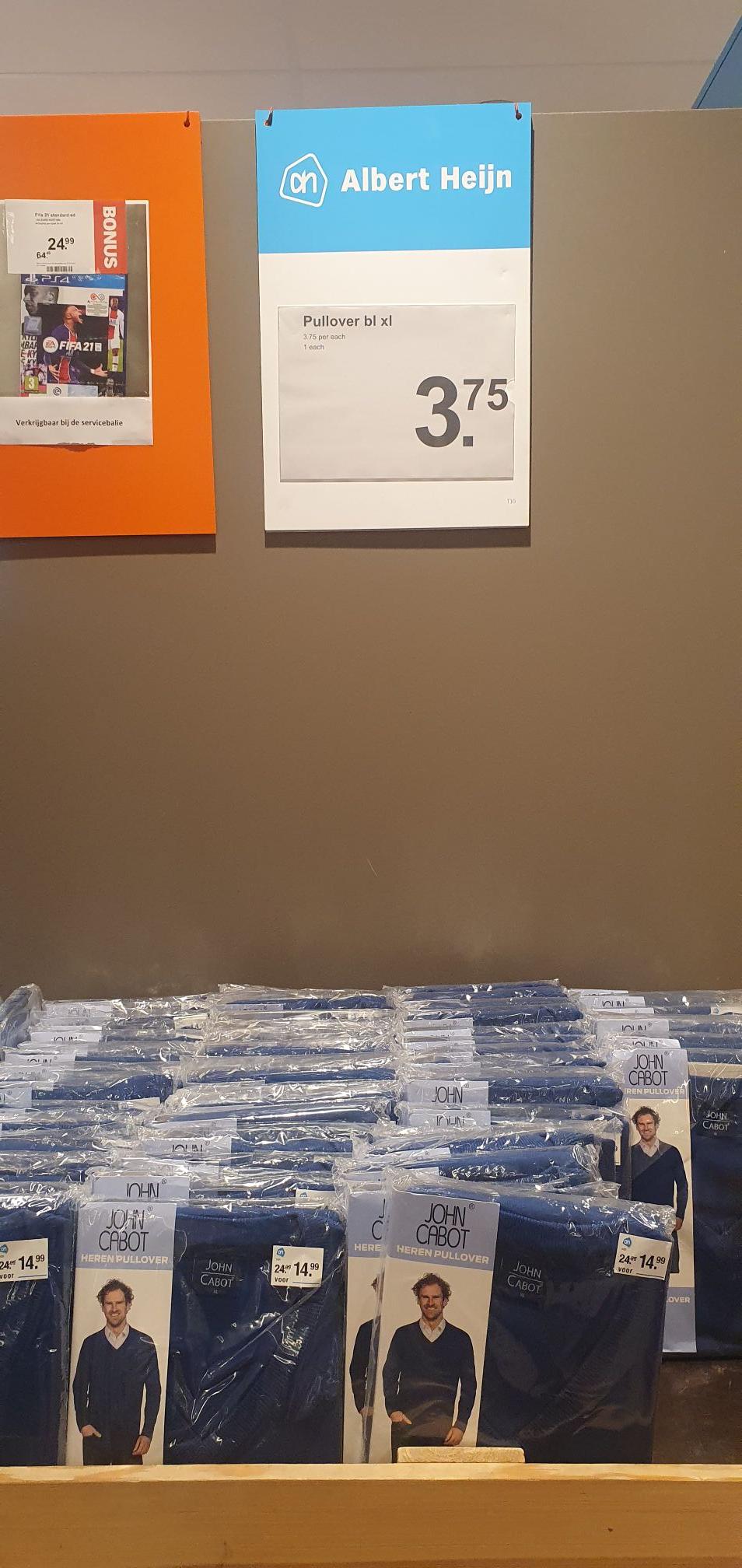 Heren John Cabot donker blauwe pullover XL