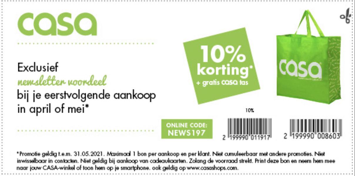 10% korting + gratis tas