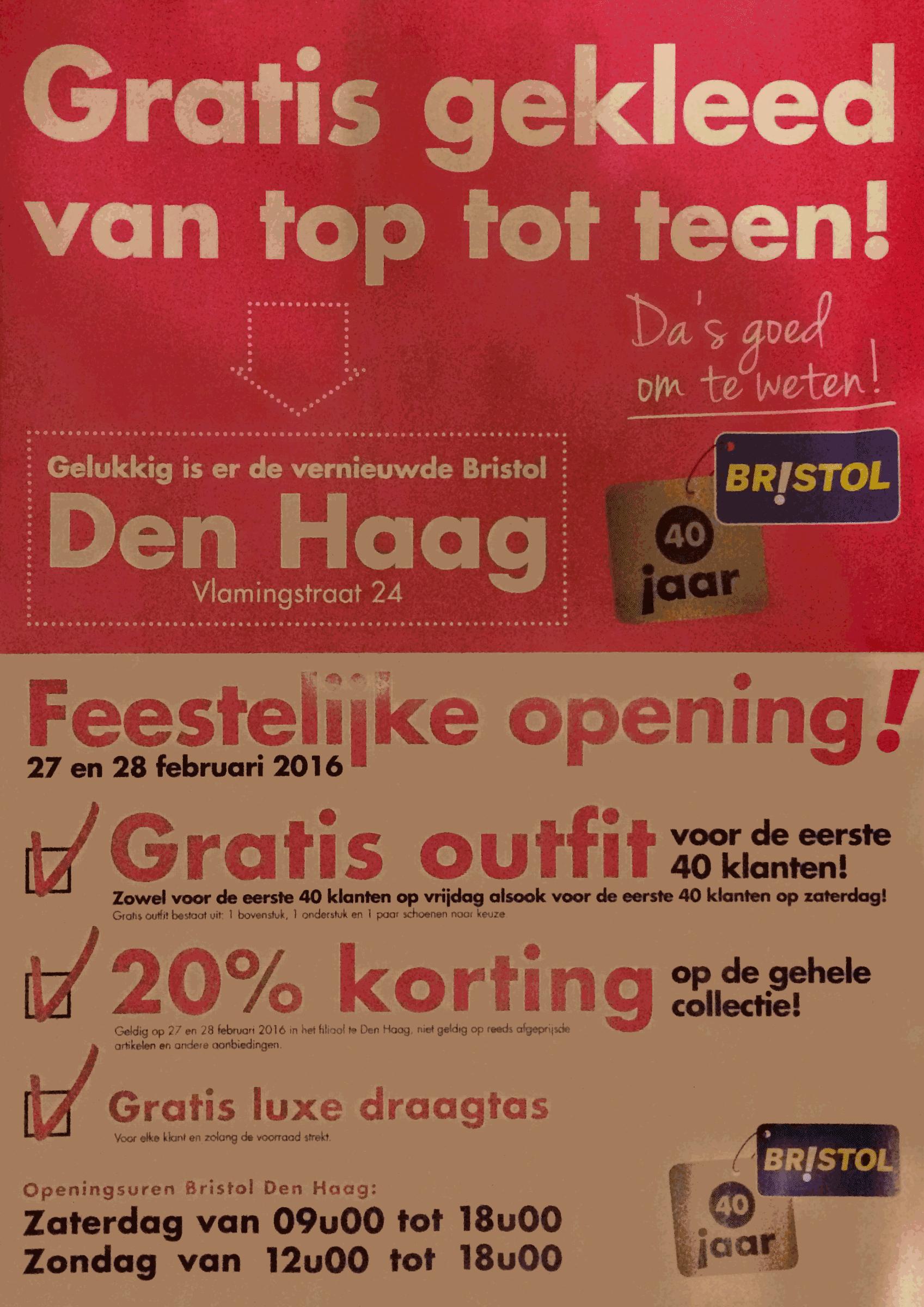 Openingsactie winkels van Biristol in Den Haag, Valkenburg, Oosterhout-Nijmegen, Cuijk, Den Bosch, Rotterdam-Alexandrium, Den Haag, Zoetermeer.