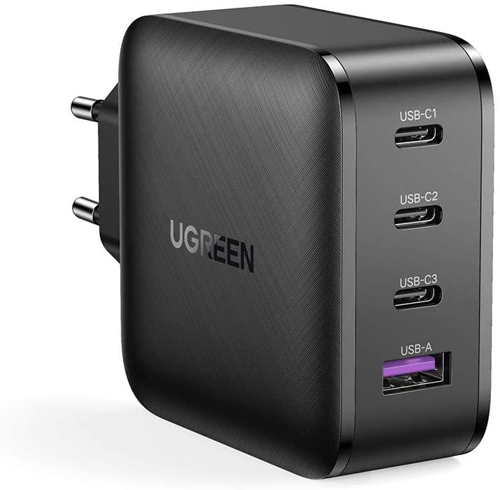 UGREEN GaN oplader max. 65W 4-poorts (3x USB C 1x USB A) voor €27,99 @ Amazon NL