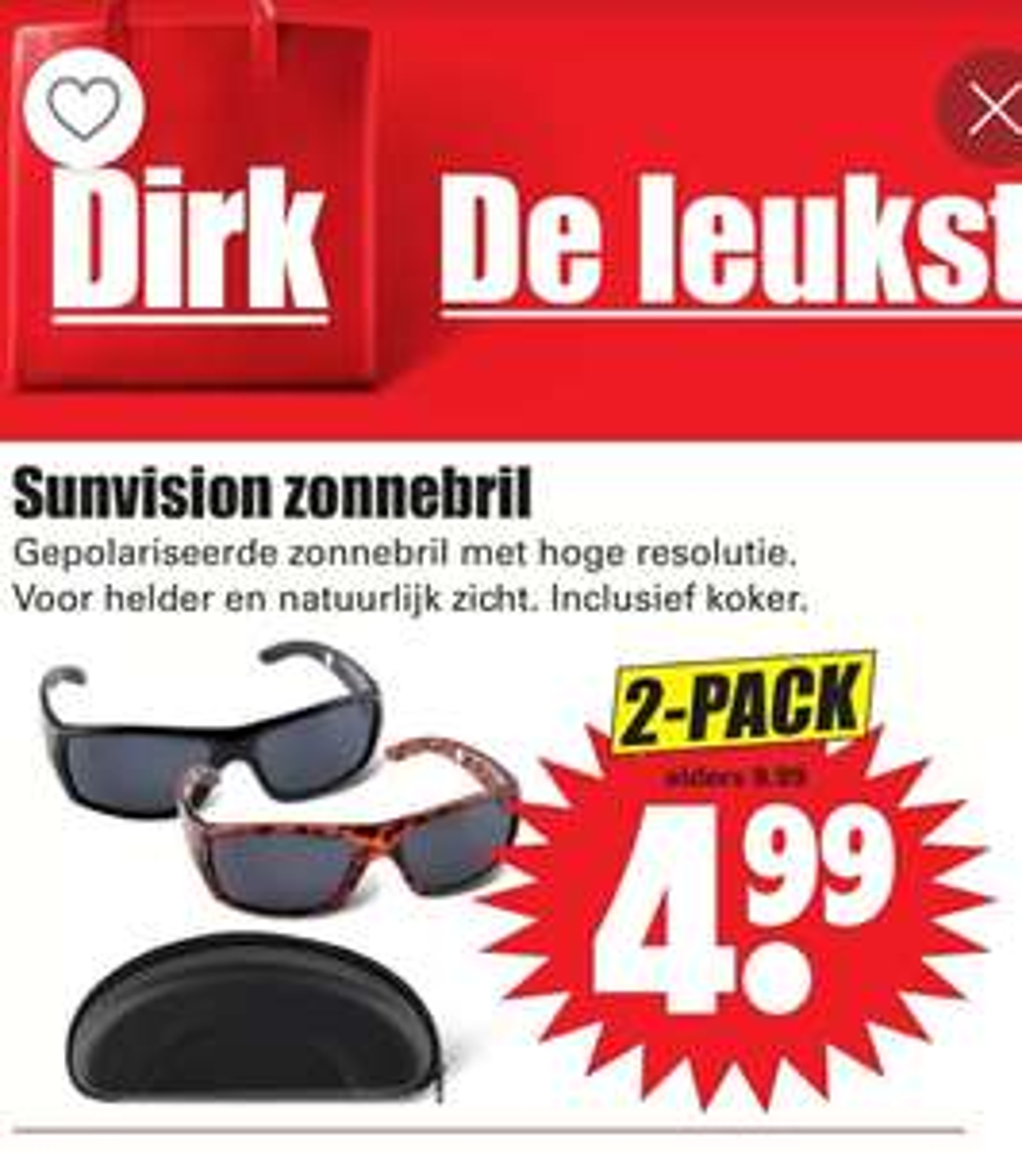 Sunvision Zonnebril 2 pack incl. Koker bij Dirk