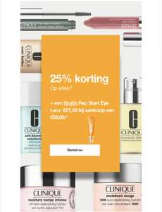 Clinique 25% korting op alles