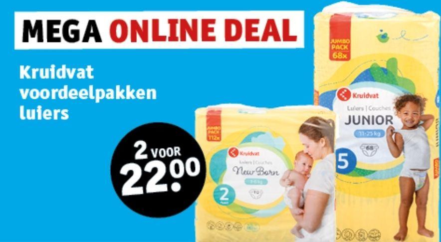 Kruidvat voordeelpakken luiers 2 voor 22 euro