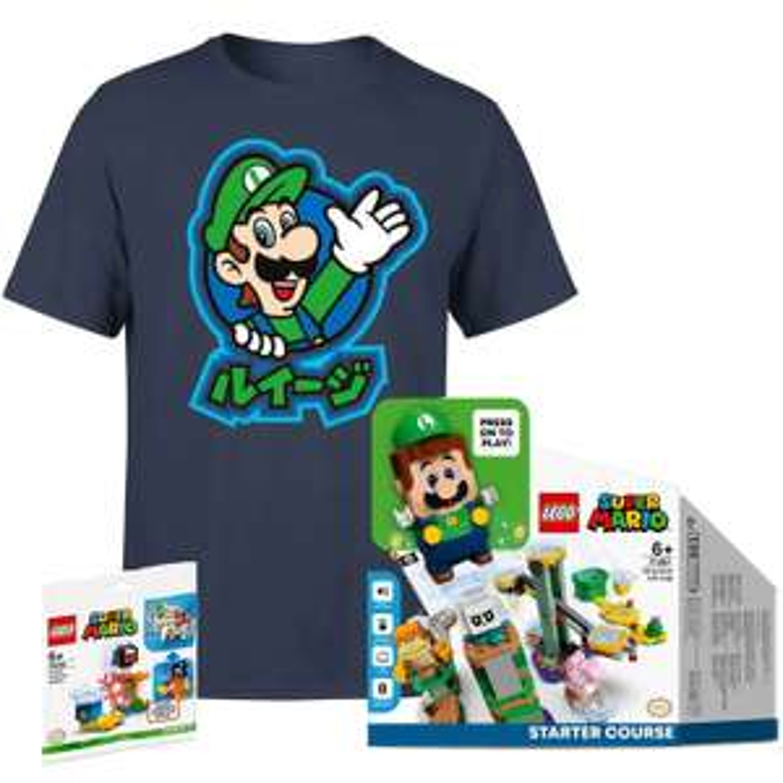 Lego Luigi starterset + Fuzzy & Mushroom platform + T-shirt