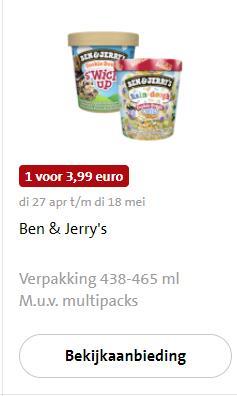 Ben & Jerry in de aanbieding bij Jumbo voor €3,99
