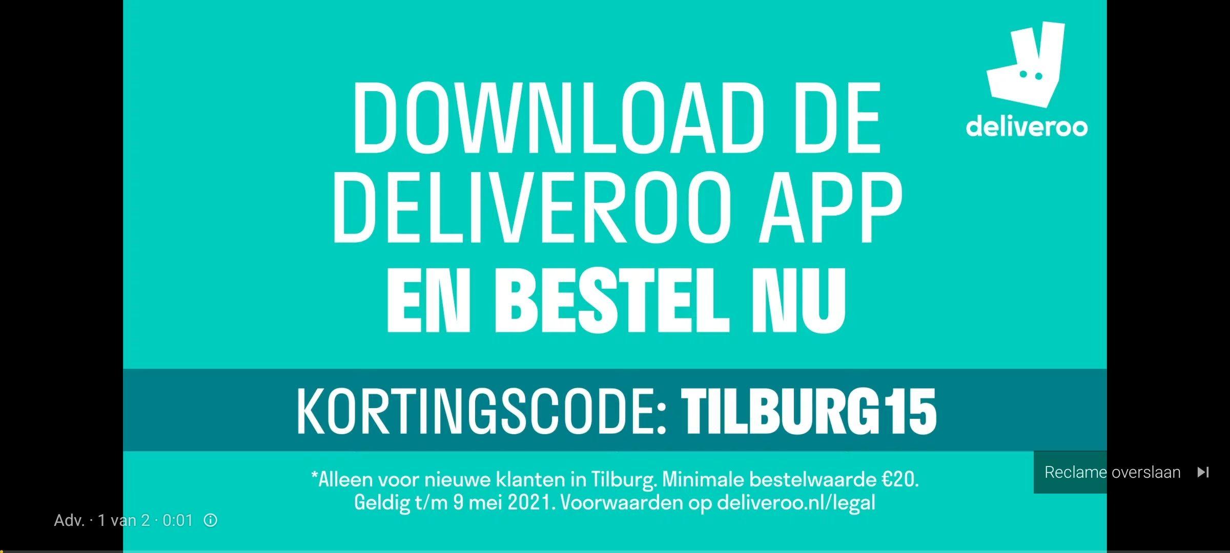 €15,- korting Deliveroo bij minimale besteding €20,-