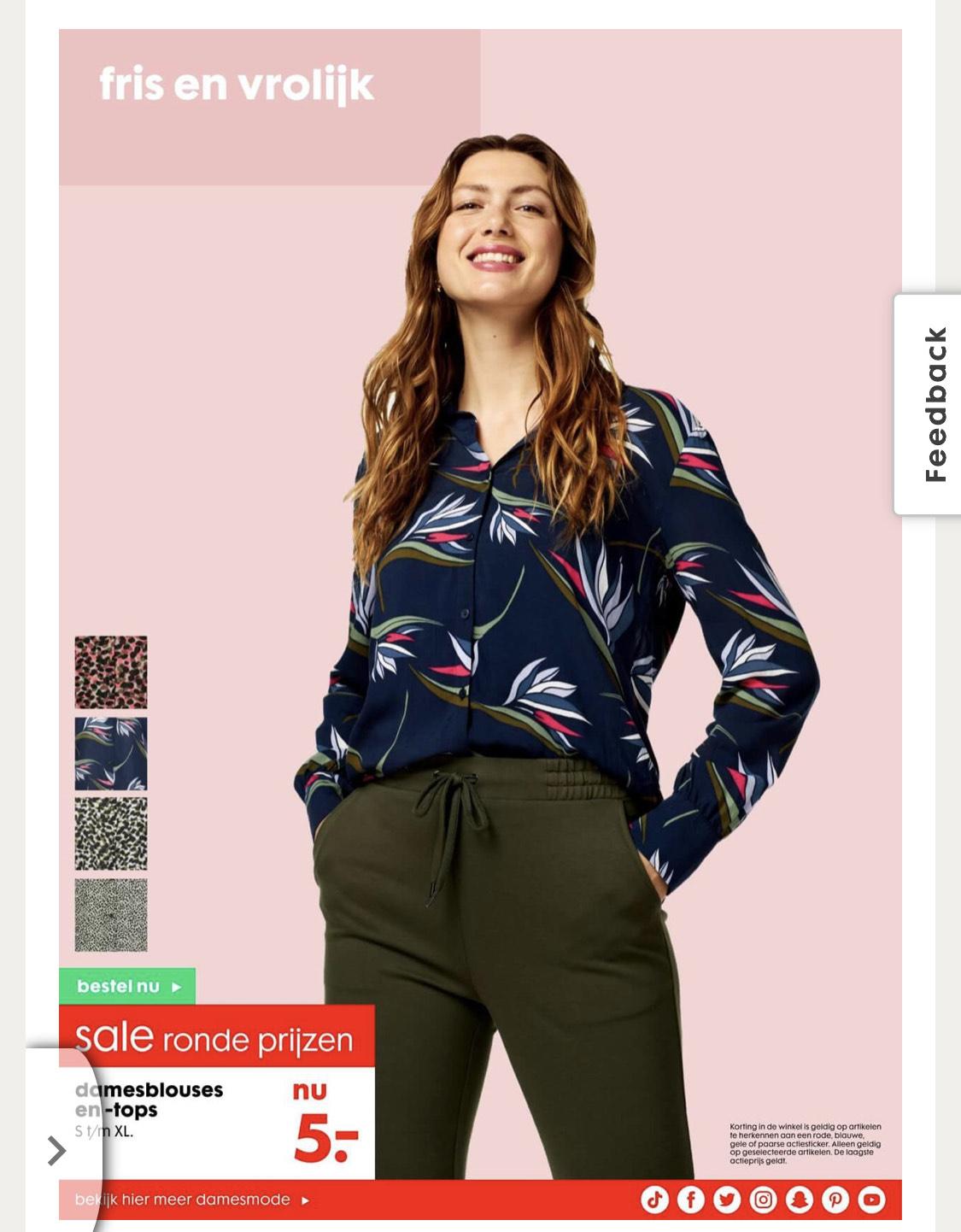 Tops en blouses nu 5€ bij Hema