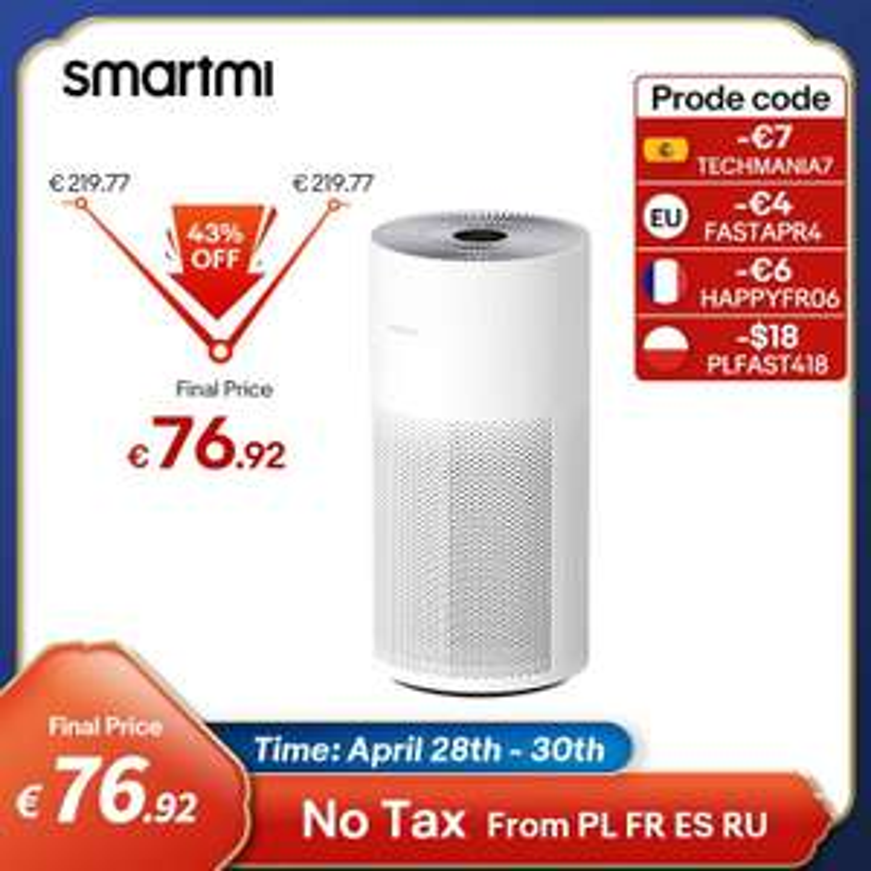 Smartmi Air Purifier luchtreiniger (tot 48m², 3 niveaus tot 400m³ / u, HEPA-13, TVOC, temperatuur, vochtigheid, OLED, gebaren, Mi Home-app)