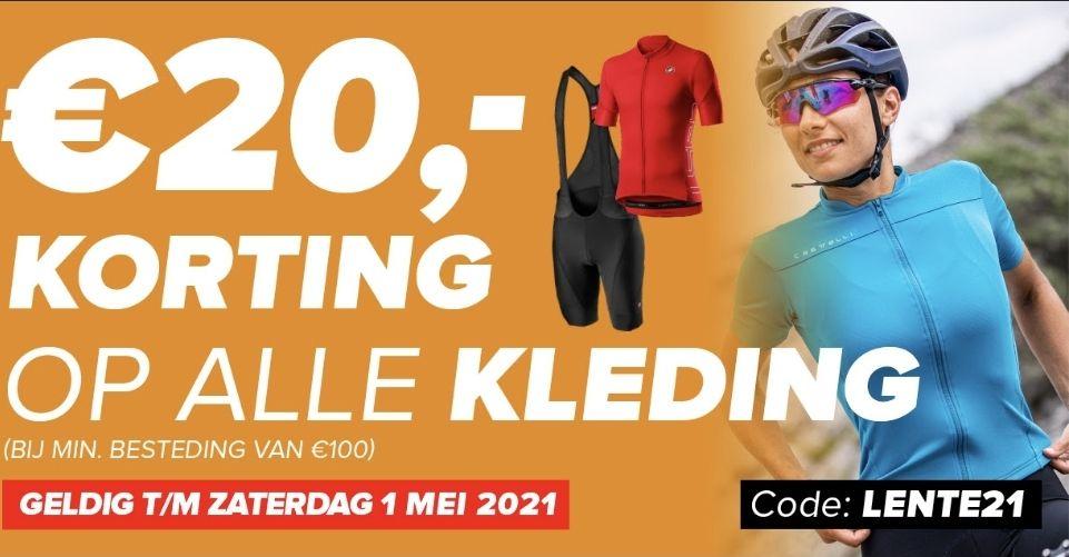 €20,- korting op alle kleding @ 12gobiking.nl bij een besteding vanaf €100,-