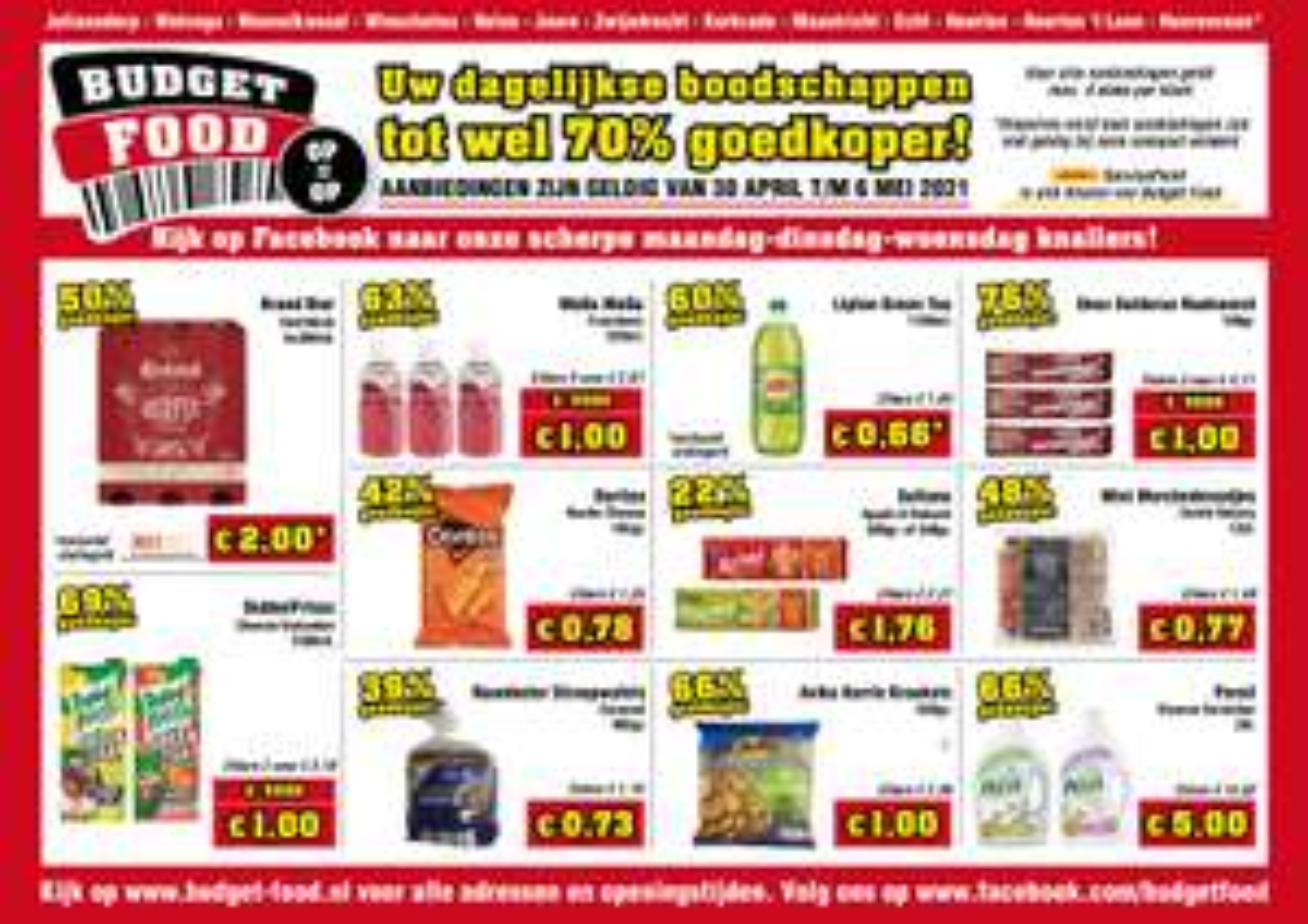 3 Rookworsten voor €1 en andere Aanbiedingen (tot 76% korting) @ Budget-Food (Week 18)