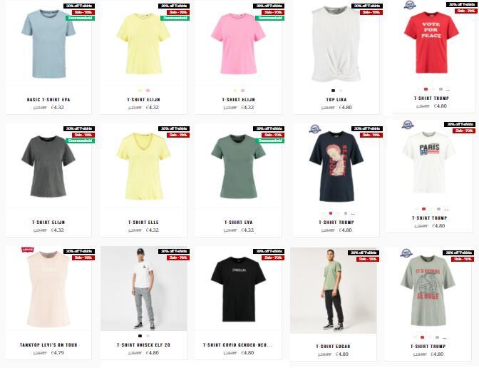 T-shirts vanaf €4,32 + gratis verzending t.w.v. €2,95 @ America Today