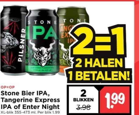 Stone bier. 3 soorten nu 1+1 bij Vomar