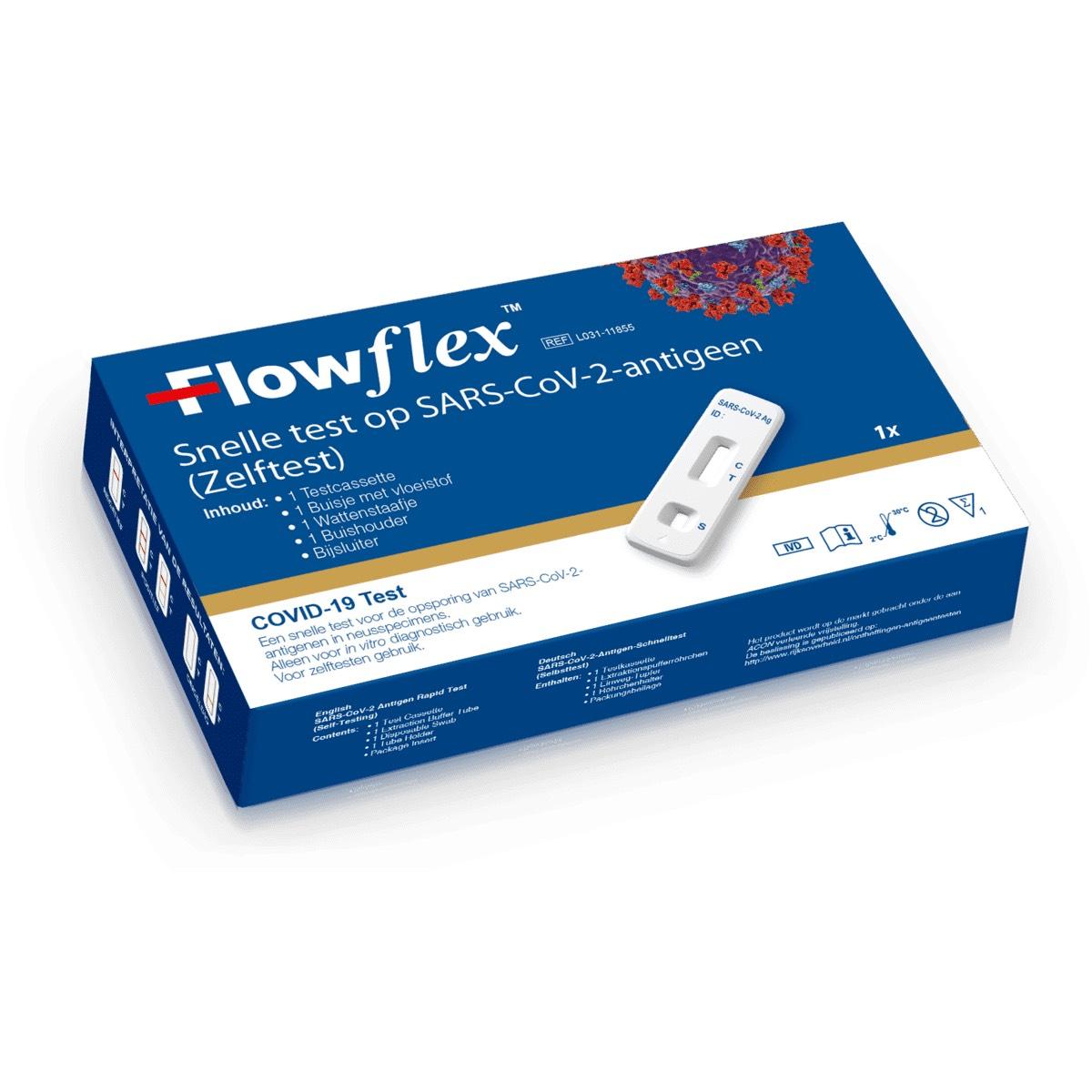 Corona zelftest x 5, merk: FlowFlex.