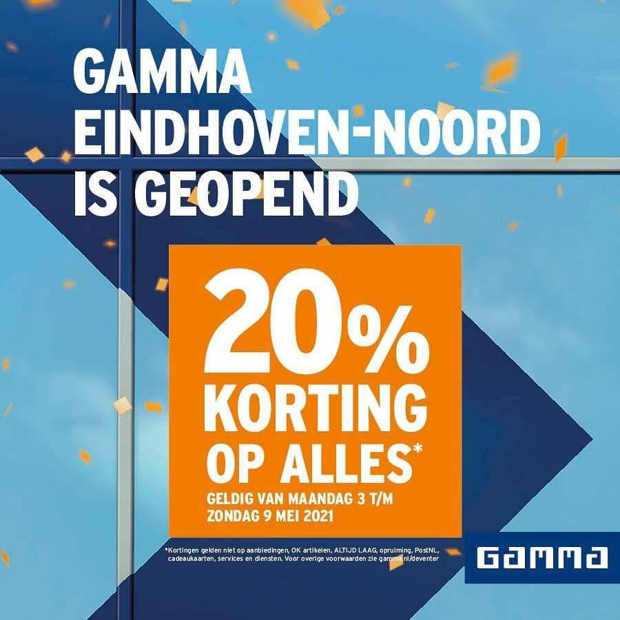 [Lokaal] Gamma 20% korting op bijna alles Eindhoven Noord