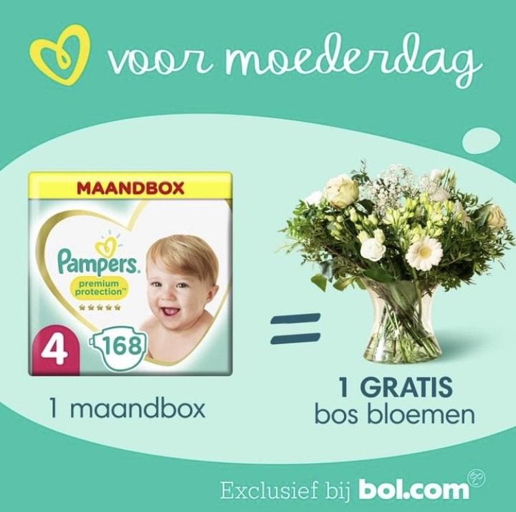 Korting op Pampers en gratis bos bloemen