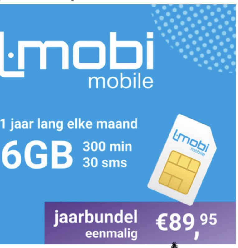 1 jaar Sim only 6gb per maand € 7,5 per maand