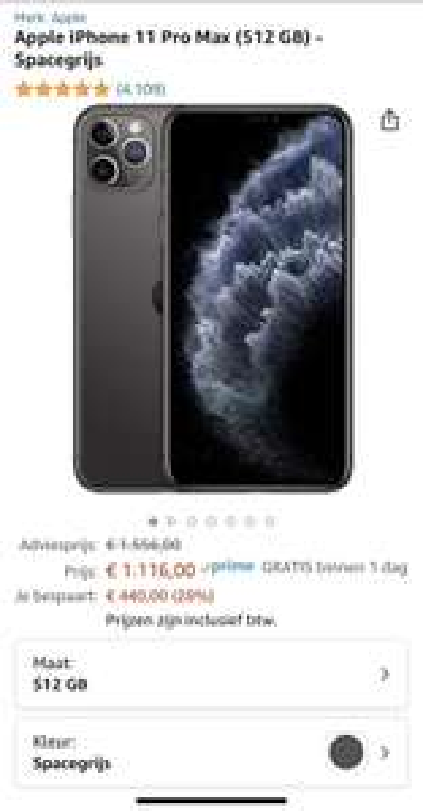 iPhone 11 Pro Max 512 gb amazon.nl