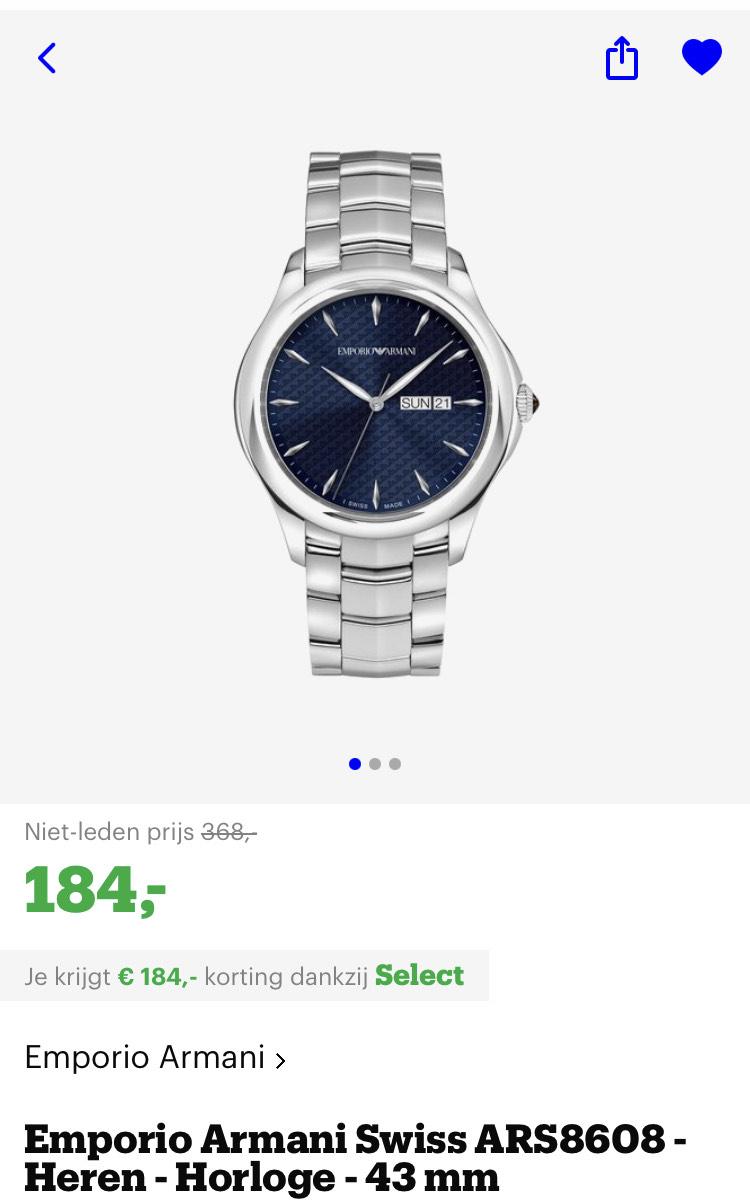 [select deals bol.com] Emporio Armani Swiss heren horloges. Zie ook 1 in beschrijving