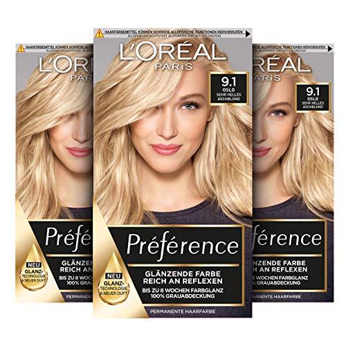 3 stuks L'Oréal Paris Préférence 9.1 haarkleuring lichtblond @Amazon.de