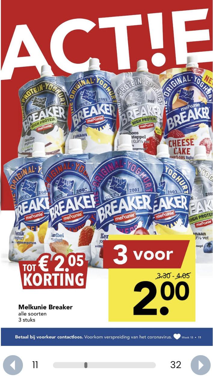 Melkunie breakers 3 voor €2 @Deen