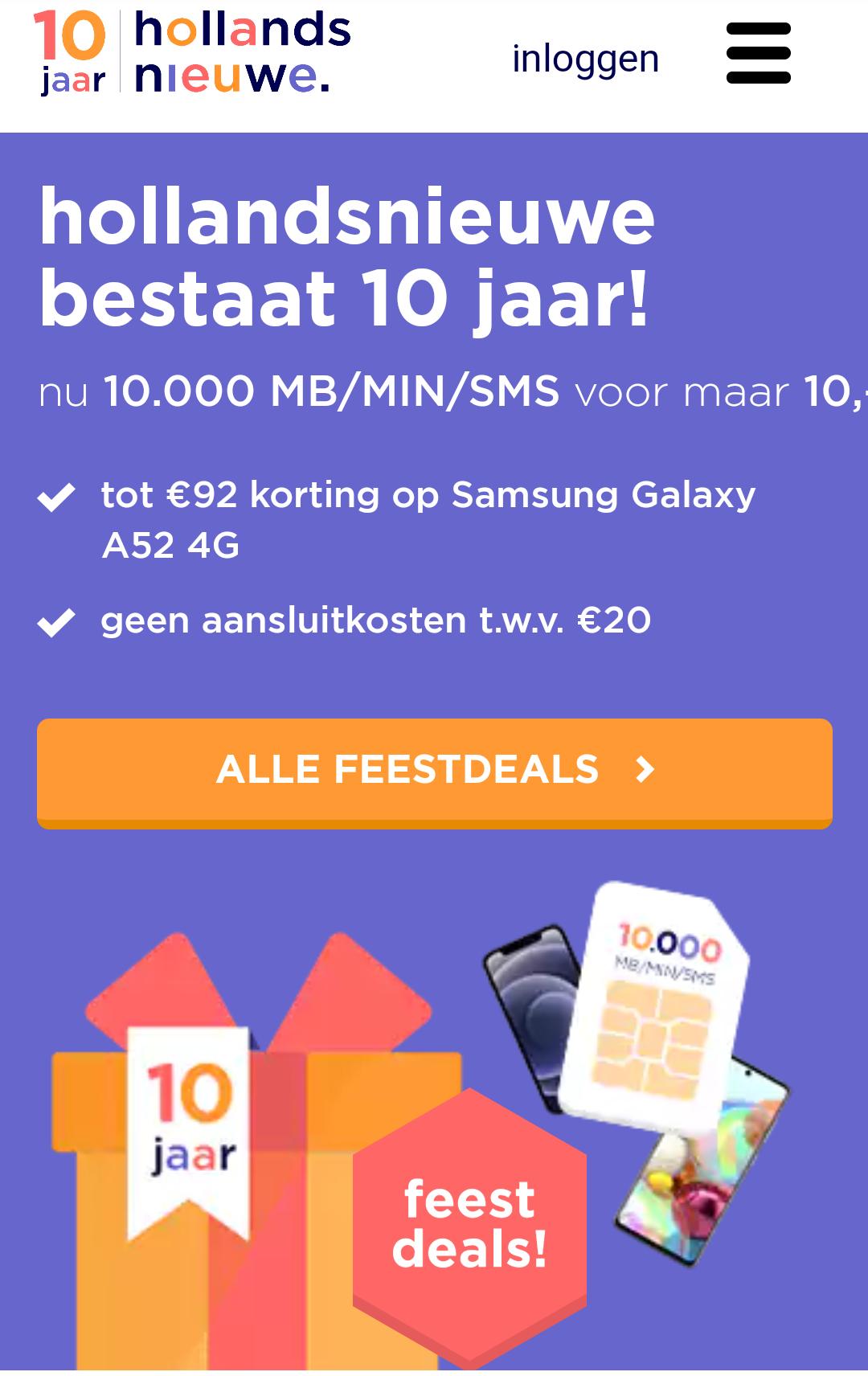 Nu 10.000 MB/MIN/SMS voor maar 10,00 en geen aansluitkosten van 20 euro