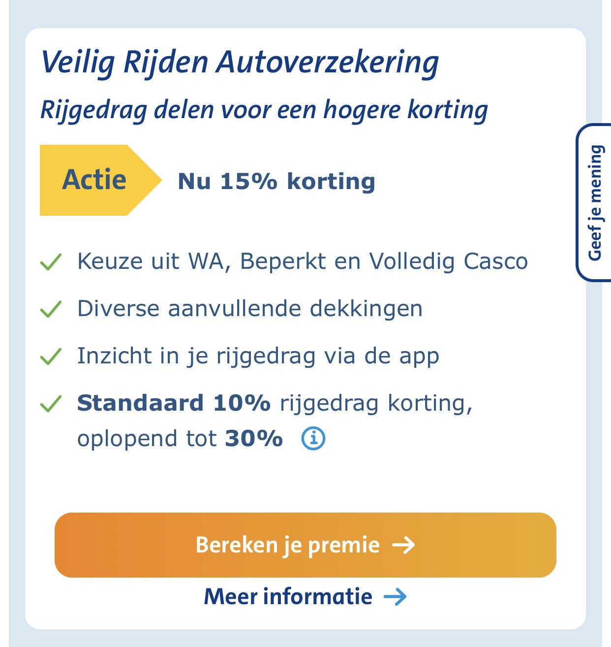 Veilig rijden autoverzekering met 15% korting @ANWB