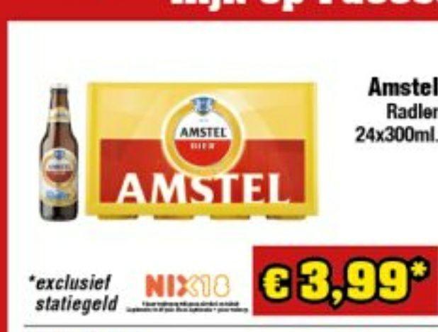 Amstel radler (2%) voor €4 per krat bij Budgetfood en Die Grenze