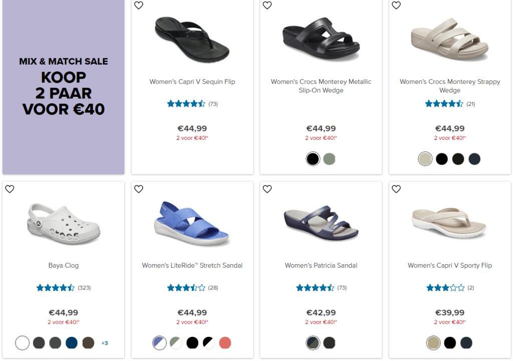 2 paar crocs voor €40 (max. €49,98 korting) + gratis verzending @ Crocs