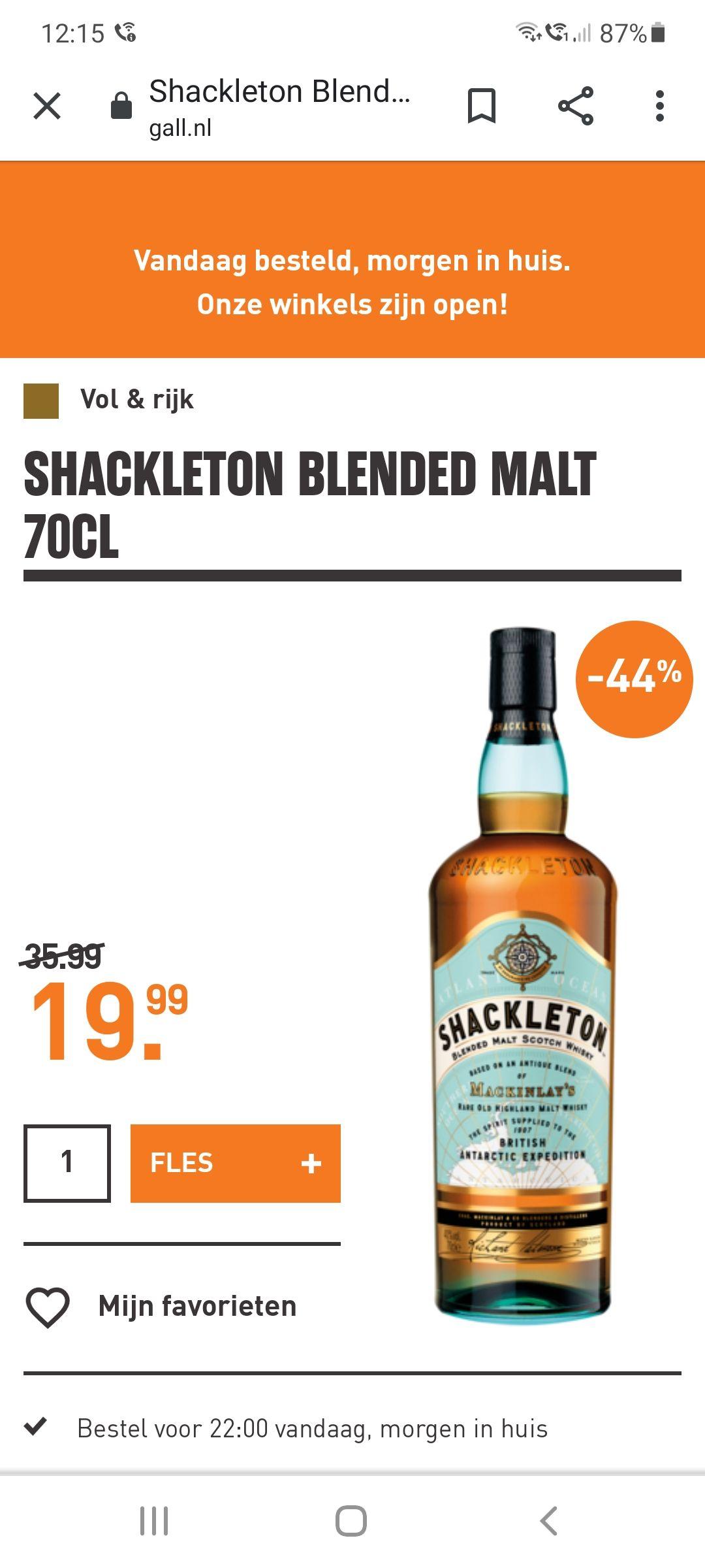 Mackinlay's Shackleton Blended Malt whisky @ Gall & Gall