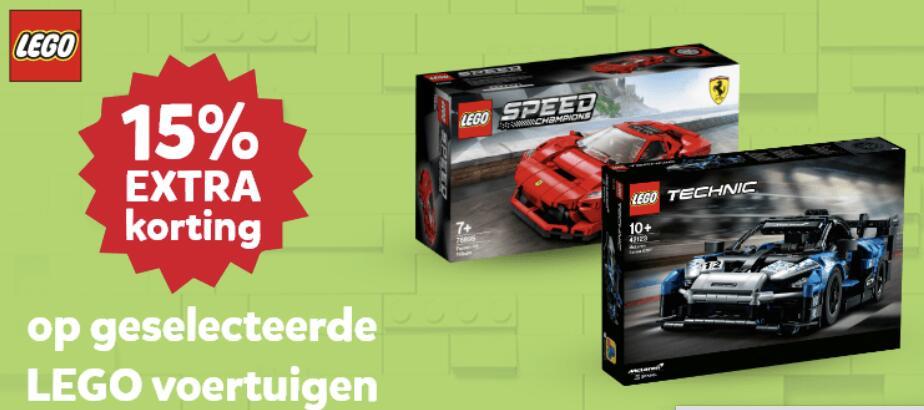 15% korting op Lego voertuigen bij Intertoys (City/Technic/Speedchampions/Creator/Duplo)